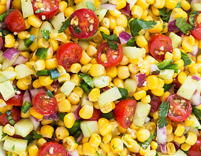 Corn, Tomato and Cucumber Salad. Summer. Recipe. Fresh. Healthy.