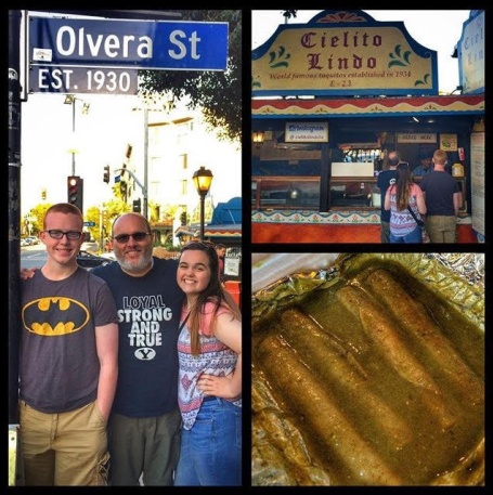 "Olvera Street. Los Angeles. Taquitos at Cielito Lindo. ""Road trips and food – what to pack and where to eat."" Summer. Travel. Family. Kids. Foodie."