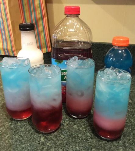 July 4th Layered Drinks. Recipes. Kids. Independence Day. Family. Children. Summer.