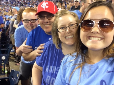Jacki and her family at a Kansas City Royals game
