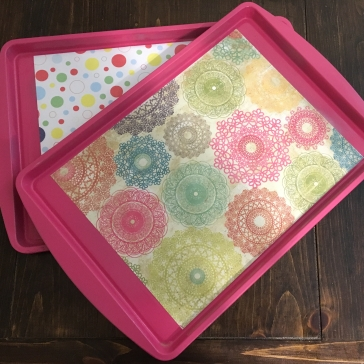 Cookie Sheet Trays for each kid to use. Road tripping with the kids: what to bring
