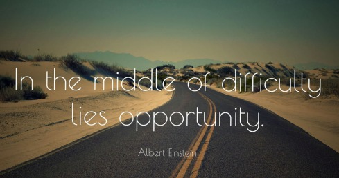 In the middle of difficulty lies opportunity. Politics. The Middle Way. Building Bridges.